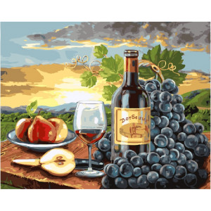"""GX24253 Картина по номерам """"Красное вино и фрукты"""", 40х50 см"""