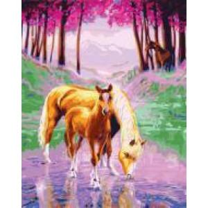 """GX24289 """"Лошадь с жеребёнком на водопое"""", 40х50 см"""