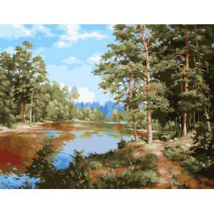"""GX24318 """"Река в сосновом лесу"""", 40х50 см"""