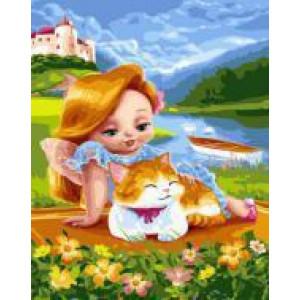 "GX24366 ""Рыжая девочка с рыжим котом"", 40х50 см"