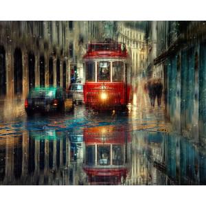 """GX24584 """"Красный трамвай в дождливом городе"""", 40х50 см"""