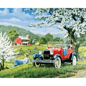 "GX24627 Картина по номерам ""Привал у цветущего дерева"", 40х50 см"