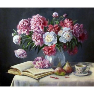 "GX24632 ""Пионы в вазе, книга, груши, чай "", 40х50 см"