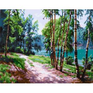 "GХ24710 Картина по номерам ""Лесная тропинка к реке"", 40х50 см"
