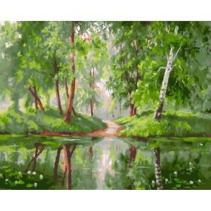 "GХ24716 Картина по номерам ""Деревья у озера"", 40х50 см"