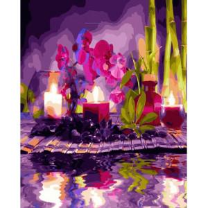 """GХ24717 Картина по номерам """"Орхидеи и свечи"""", 40х50 см"""