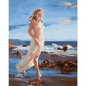 "GХ24720 Картина по номерам ""Девушка на берегу моря"", 40х50 см"