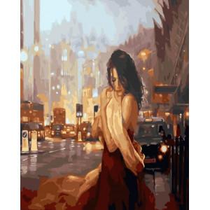 """GХ24729 Картина по номерам """"Девушка в вечернем городе"""", 40х50 см"""