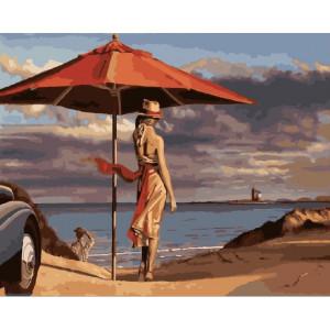 "GХ24745 Картина по номерам ""Девушка на пляже"", 40х50 см"