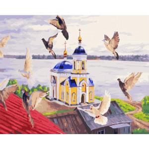 "GХ24746 Картина по номерам ""Голуби над храмом"", 40х50 см"