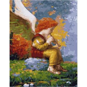 """GX25151  Картина по номерам """"Ангелочек со свирелью"""", 40х50 см"""