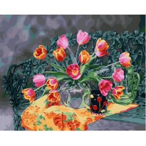 """GX25163 Картина по номерам """"Букет тюльпанов в вазе"""", 40х50 см"""