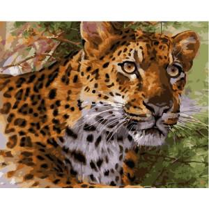 "GX25167 Картина по номерам ""Леопард в кустах"", 40х50 см"