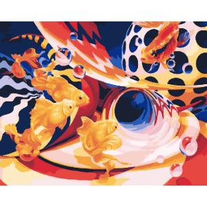 "GX25183 Картина по номерам ""Золотые рыбки"", 40х50 см"
