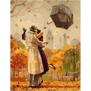 "GX25191 Картина по номерам ""Поцелуй под листопадом"", 40х50 см"