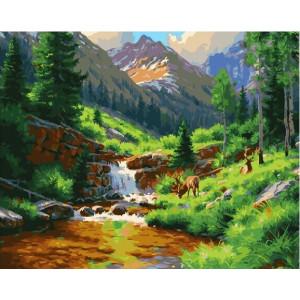 """GX25200 Картина по номерам """"Олени у горной реки"""", 40х50 см"""