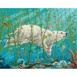 """GX25301 Картина по номерам """"Подводный мир медведя"""", 40х50 см"""