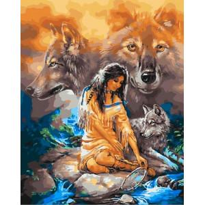 """GХ25529 Картина по номерам """"Индианка и волк"""", 40х50 см"""