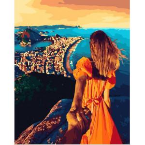 "GХ25538 Картина по номерам ""Следуй за мной. Городок на побережье"", 40х50 см"
