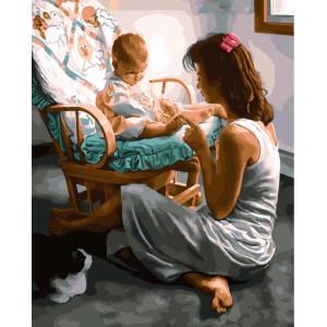 "GХ25542 Картина по номерам ""Малыш с мамой"", 40х50 см"