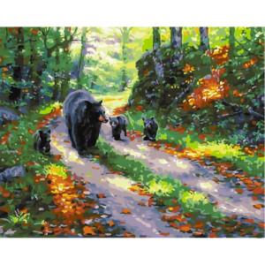 """GХ25546 Картина по номерам """"Медвежата с мамой"""", 40х50 см"""