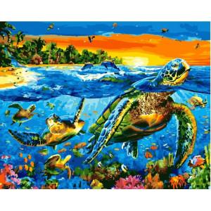 """GХ25549 Картина по номерам """"Черепахи в океане"""", 40х50 см"""