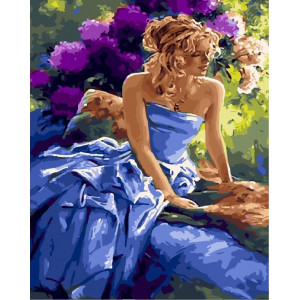 "GХ25558 Картина по номерам ""Девушка в цветущем саду"", 40х50 см"