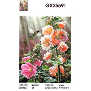 "GX25591 ""Большие цветы, колибри"", 40х50 см"