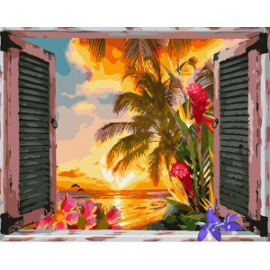 "GX25623 Картина по номерам ""Южный закат за окном"", 40х50 см"