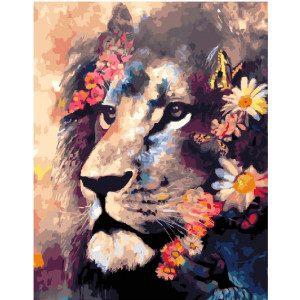 "GX25625 Картина по номерам ""Лев и бабочки"", 40х50 см"