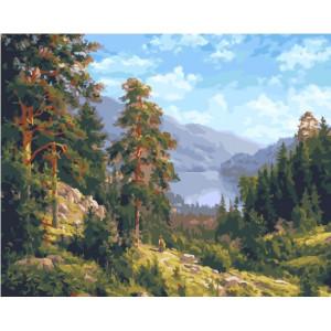 """GX25629 Картина по номерам """"Сосны и горы"""", 40х50 см"""