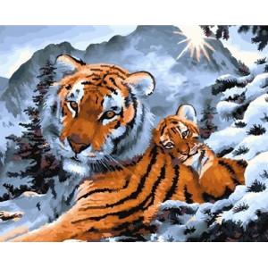 "GX26008  Картина по номерам ""Тигрица у снежных вершин"", 40х50 см"