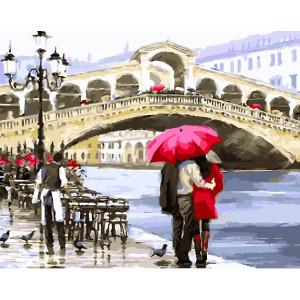 """GX26060 Картина по номерам """"Влюбленные у моста в Венеции"""", 40х50 см"""