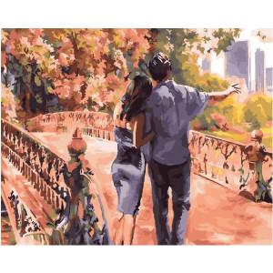 """GX26076 Картина по номерам """"Пара на мостике"""", 40х50 см"""