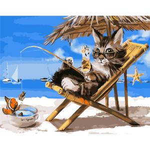 "GX26079 Картина по номерам ""Кот на пляже"", 40х50 см"