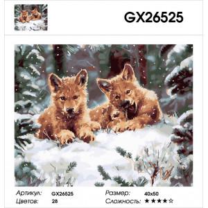 "GХ26525 Картина по номерам ""Волчата"", 40х50 см"