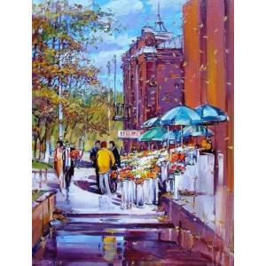 "GX26767 ""Улица с голубыми зонтами"", 40х50 см"