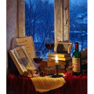"GX26802 ""Вино, свеча, книги"", 40х50 см"