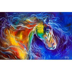 """GX26842 """"Цветная лошадь на синем"""", 40х50 см"""