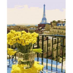 """GХ23248 Картины по номерам """"Желтые розы в Париже"""", 40х50 см"""