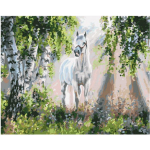 "GХ4666 Живопись по номерам ""Белый конь"", 40х50 см"