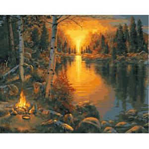 """GX5150 Картина по номерам """"Костер на закате"""", 40х50 см"""