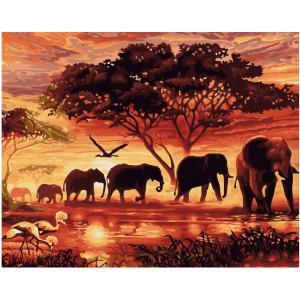 "GX5189 Картина по номерам ""Слоны в саванне"", 40х50 см"