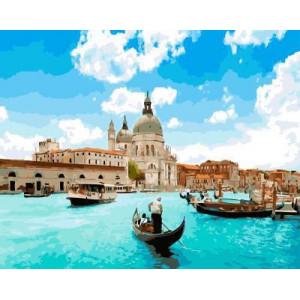 "GX5384 ""Гондола и катер в Венеции"", 40х50 см"