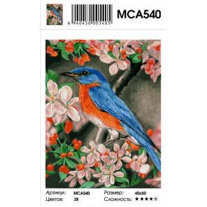 """MCA540 Картина по номерам """"Птичка на цветущей вишни"""", 40х50 см"""