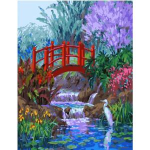 """GХ21151 Картины по номерам """"Мостик в саду"""", 40х50 см"""