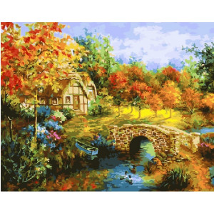 """GХ21199 Картины по номерам """"Домик с осенним садом"""", 40х50 см"""