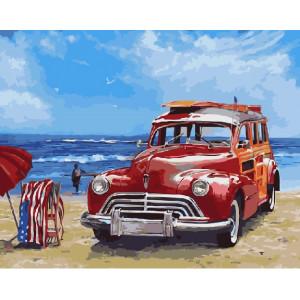 "GХ21258 Картины по номерам ""Автомобиль на пляже"", 40х50 см"