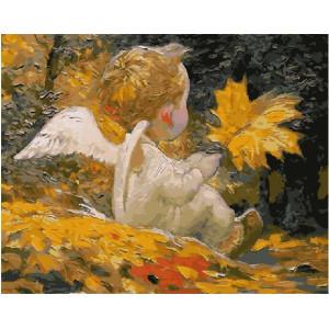 "GX21328 Картина по номерам ""Ангелочек с листочком"", 40х50 см"
