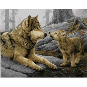 """GX21464 Картина по номерам """"Волчица с волчонком"""", 40х50 см"""